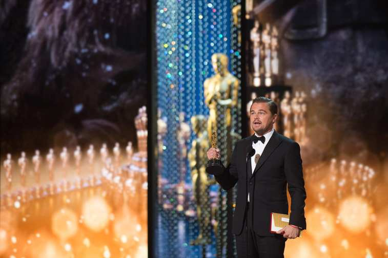 "Leonardo DiCaprio accepts the Oscar® for Performance by an actor in a Leading role, for work on ""The Revenant"" during the live ABC Telecast of The 88th Oscars® at the Dolby® Theatre in Hollywood, CA on Sunday, February 28, 2016."